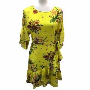 Davi & Dani Yellow Floral Dress L